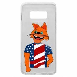 Чехол для Samsung S10e Cat in American Flag T-shirt