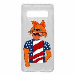 Чехол для Samsung S10 Cat in American Flag T-shirt