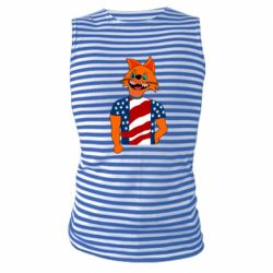 Майка-тельняшка Cat in American Flag T-shirt
