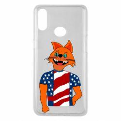 Чехол для Samsung A10s Cat in American Flag T-shirt
