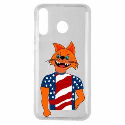 Чехол для Samsung M30 Cat in American Flag T-shirt