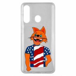 Чехол для Samsung M40 Cat in American Flag T-shirt