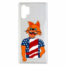 Чехол для Samsung Note 10 Plus Cat in American Flag T-shirt