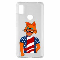 Чехол для Xiaomi Redmi S2 Cat in American Flag T-shirt