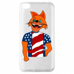 Чехол для Xiaomi Redmi Go Cat in American Flag T-shirt