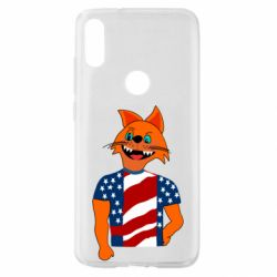 Чехол для Xiaomi Mi Play Cat in American Flag T-shirt