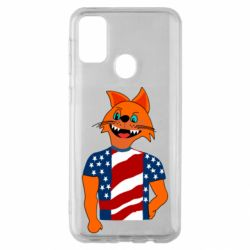 Чехол для Samsung M30s Cat in American Flag T-shirt
