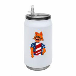 Термобанка 350ml Cat in American Flag T-shirt