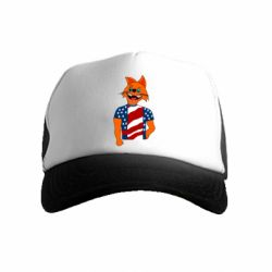 Детская кепка-тракер Cat in American Flag T-shirt