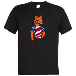Мужская футболка  с V-образным вырезом Cat in American Flag T-shirt