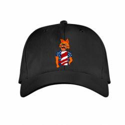 Детская кепка Cat in American Flag T-shirt