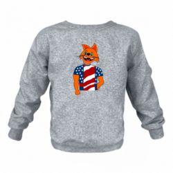 Детский реглан (свитшот) Cat in American Flag T-shirt