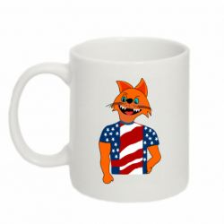 Кружка 320ml Cat in American Flag T-shirt