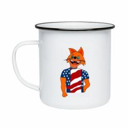Кружка эмалированная Cat in American Flag T-shirt