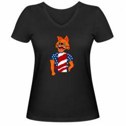 Женская футболка с V-образным вырезом Cat in American Flag T-shirt