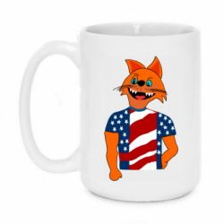 Кружка 420ml Cat in American Flag T-shirt