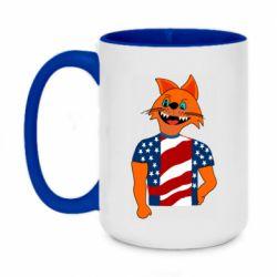 Кружка двухцветная 420ml Cat in American Flag T-shirt