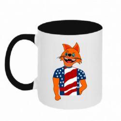 Кружка двухцветная 320ml Cat in American Flag T-shirt