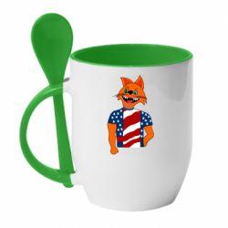 Кружка с керамической ложкой Cat in American Flag T-shirt