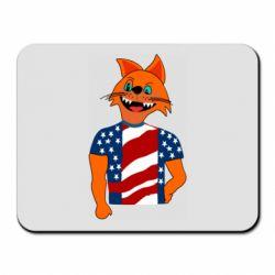 Коврик для мыши Cat in American Flag T-shirt