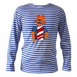 Тельняшка с длинным рукавом Cat in American Flag T-shirt