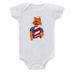 Детский бодик Cat in American Flag T-shirt
