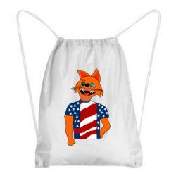 Рюкзак-мешок Cat in American Flag T-shirt