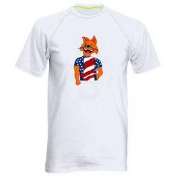 Мужская спортивная футболка Cat in American Flag T-shirt