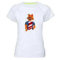 Женская спортивная футболка Cat in American Flag T-shirt