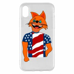 Чехол для iPhone X/Xs Cat in American Flag T-shirt