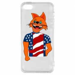 Чехол для iPhone5/5S/SE Cat in American Flag T-shirt