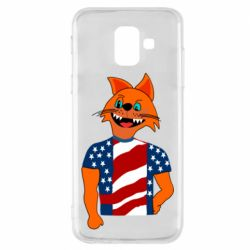 Чехол для Samsung A6 2018 Cat in American Flag T-shirt