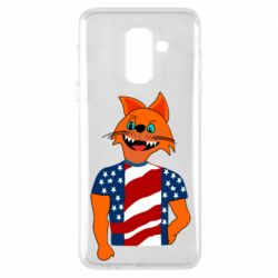Чехол для Samsung A6+ 2018 Cat in American Flag T-shirt