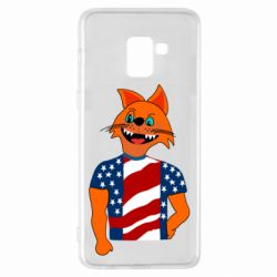 Чехол для Samsung A8+ 2018 Cat in American Flag T-shirt