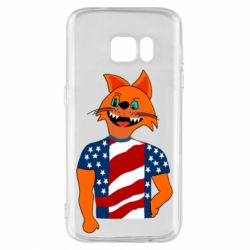 Чехол для Samsung S7 Cat in American Flag T-shirt