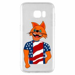 Чехол для Samsung S7 EDGE Cat in American Flag T-shirt