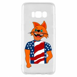 Чехол для Samsung S8 Cat in American Flag T-shirt