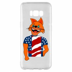 Чехол для Samsung S8+ Cat in American Flag T-shirt