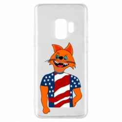 Чехол для Samsung S9 Cat in American Flag T-shirt