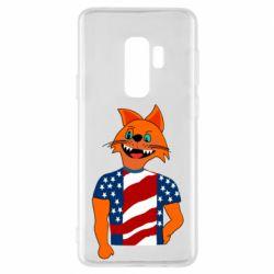 Чехол для Samsung S9+ Cat in American Flag T-shirt