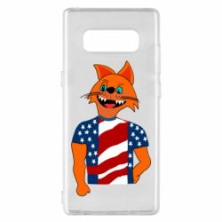 Чехол для Samsung Note 8 Cat in American Flag T-shirt