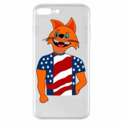 Чехол для iPhone 8 Plus Cat in American Flag T-shirt