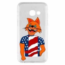 Чехол для Samsung A3 2017 Cat in American Flag T-shirt