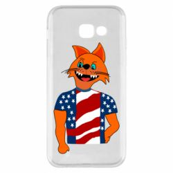 Чехол для Samsung A5 2017 Cat in American Flag T-shirt