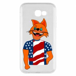 Чехол для Samsung A7 2017 Cat in American Flag T-shirt
