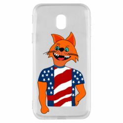 Чехол для Samsung J3 2017 Cat in American Flag T-shirt