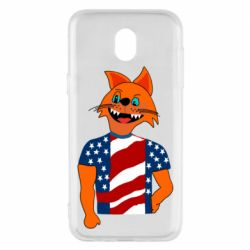 Чехол для Samsung J5 2017 Cat in American Flag T-shirt