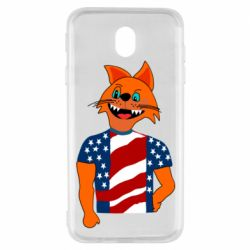 Чехол для Samsung J7 2017 Cat in American Flag T-shirt