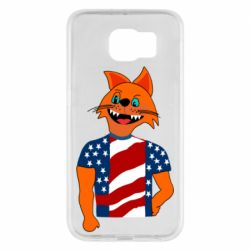 Чехол для Samsung S6 Cat in American Flag T-shirt