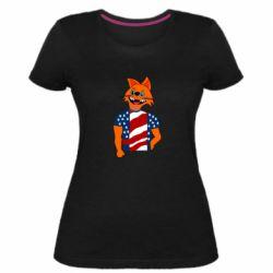 Женская стрейчевая футболка Cat in American Flag T-shirt